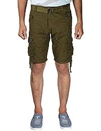 Krystle 6 Pocket Green Cotton Cargo Shorts
