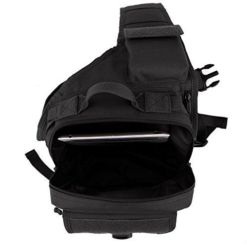 DCCN Molle Sling Zaino Militare Crossbag Sport Borsa a Tracolla Nero