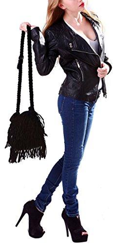 FakeFace Neu Quaste Tasche Umhängetasche Tassel Handtasche Troddel Damen Troddelbeutel Schultertasche Messenger Tote Shoulder Bag Fringe Schwarz