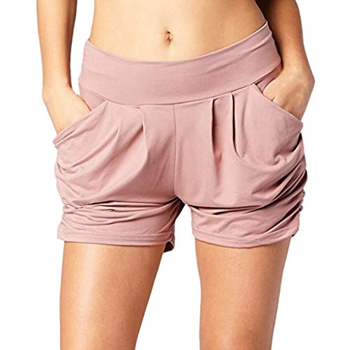 MOTOCO Damen Relaxed Comfort Pockets Hohe Taille Elastische Stretch Womens Shorts Größe 36-42(S(36),Rosa)