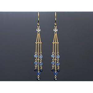 Lange Saphir Ohrringe Blau im Farbverlauf