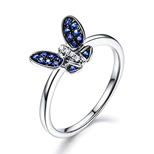 AnazoZ Damen-Ring 925 Sterling Silber Saphir Zirkonia Eheringe Jahrestag Echtschmuck für Frauen