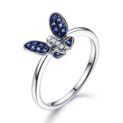Anello fidanzamento donna argento 925 blu zirconi anello smeraldo bigiotteria misura 18,5