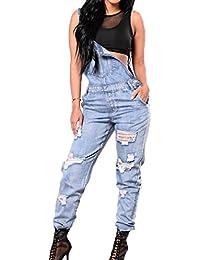bb020a66fd6c Juqilu Lady Girl s Fashion Sleeveless Dungarees Jumpsuits Playsuits Casual Denim  Jeans Long Pants Slim Trousers Women s