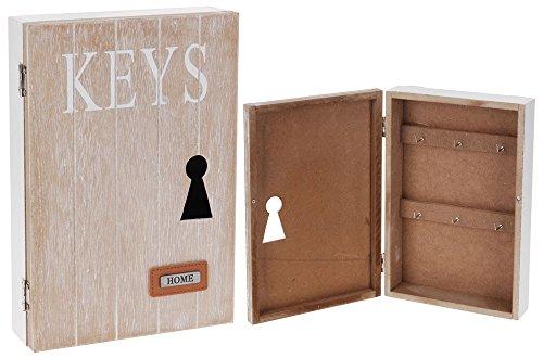 Schlüsselkasten 'KEYS', 25x17x6cm, dekoratives Schlüsselloch, 6 Schlüsselhaken, Natur Weiß / Schlüsselschrank Schlüsselbox Wandschrank Schlüsselbrett Schlüsselboard