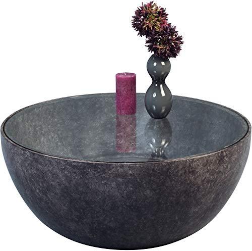 HomeTrends4You 106048 Couchtisch Fiona, rund, Marmoroptik Anthrazit, Grau, Tischplatte Sicherheitsglas klar, Durchmesser 80cm, Höhe 35cm