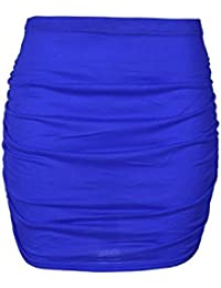 Be Jealous Womens Party Mini Skirt Ladies Plain Elasticated Waist Stretchy Side Ruched Fitted Bodycon Plus Size UK 8-22