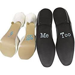Pack 2 pegatinas zapatos novia y novio - I DO // ME TOO - Blanco y Azul
