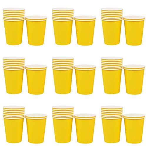 Makwes 100 Stück Pappbecher Einweg Papier Heißer Kaffee Tee Trinkbecher Farbe Pappbecher für DIY Party 250 ML, Bastel- & Malmaterialien,DIY Handgemachte Materialien(Gelb)