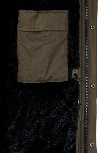 EightyFive Herren Winter-Parka Winterjacke Kunstfell Kapuze Gefüttert Teddyfell Schwarz Khaki Beige Camouflage EF1720, Größe:S, Farbe:Khaki - 4