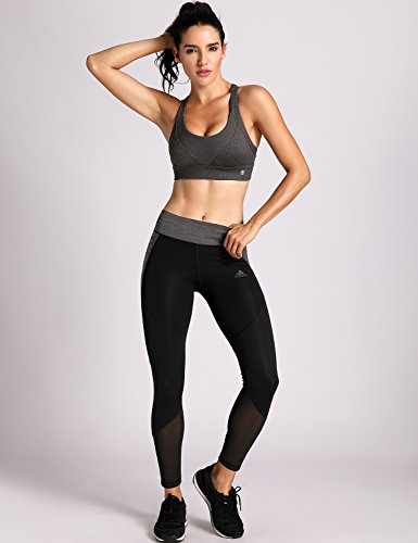 CRZ YOGA Damen Starken Halt Sport BH - Gepolstert Ohne Bügel Yoga BH Top Charcoal Heather