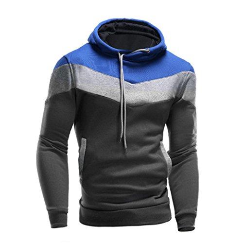 Tonsee Hommes Retro Manches longues Hoodie Sweatshirt hiver manteau veste chaude Outwear Bleu