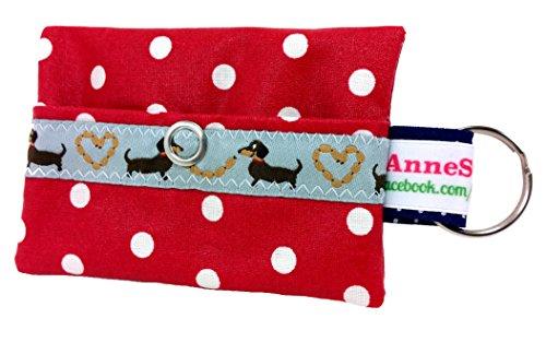 AnneSvea Kackbeutel rot Punkte Hundekotbeutel Spender Hundetüte Leckerli Tasche aus Wachstuch Gassi gehen Waste Geschenk Hundebesitzer Poop Bag Chien -