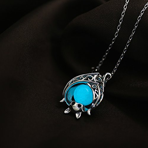 Apotie Christmas 925 Sterling Silver Cute Bat with Luminous Stone Charm Pendant Necklace Jewelry for Women Chain 18 oYTl5Fg