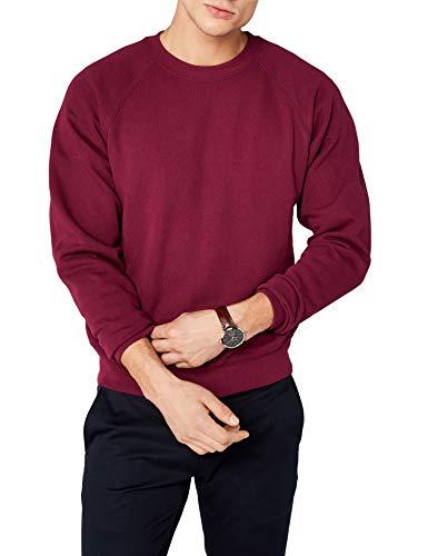 enorme sconto 74d4b c1522 Fruit of the Loom Raglan Sweatshirt, Felpa Uomo, Rosso (Burgundy), Large