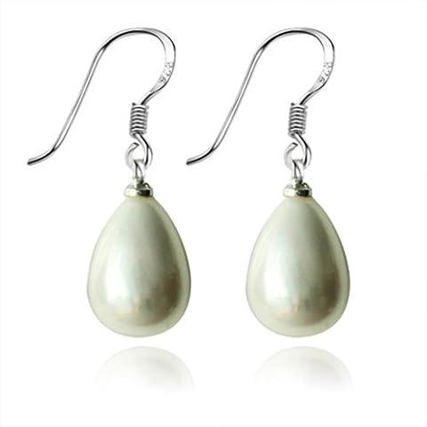 Lureme Vintage Silver Tone Hook 12mm Shell Pearl Drop Cream Color Earrings (02001503)