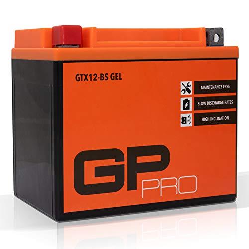 GP-PRO GTX12-BS - Batería de arranque para motos, 12V, 10Ah, parecido a YTX12-BS / 51012, sin necesidad de mantenimiento, 15 x 13 x 8.7 cm