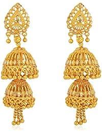 Memoir Gold Plated 1 Micron, Faux Kundan Double Umbrella Bridal Wedding Earring Jhumki For Women