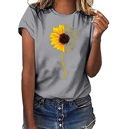 Frauen Mode Bluse Plus Size Freizeithemd Blume Print T-Shirt Kurzarm O-Ausschnitt Top Outdoor Freizeit Hemd Mode Atmungsaktiv Sport Bluse -