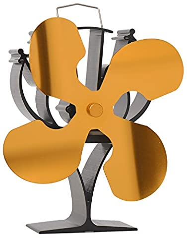 New designed 4 Blades Heat Powered Stove Fan for Wood / Log Burner/Fireplace - Eco Friendly(Gold)