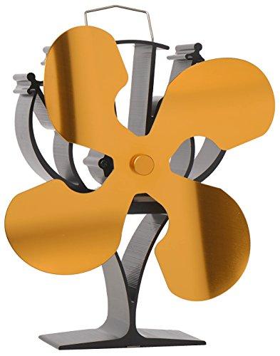 Wärmebetriebener Ofenventilator, 4Flügel, für Kamine, umweltfreundlich (Gold)