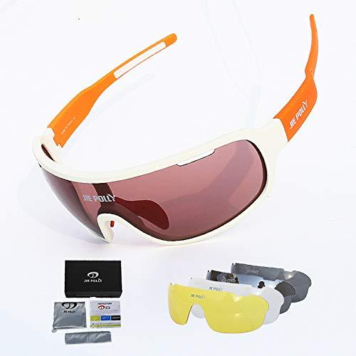 kamier Männer und Frauensportspiegel-Sandstrahlschutzbrillen des vollen Rahmens im Freien, die orange Weiß des Anzugs reiten