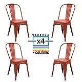 Vaukura Silla Tolix(Pack 4) - Silla Industrial Metálica Vintage (Rojo)