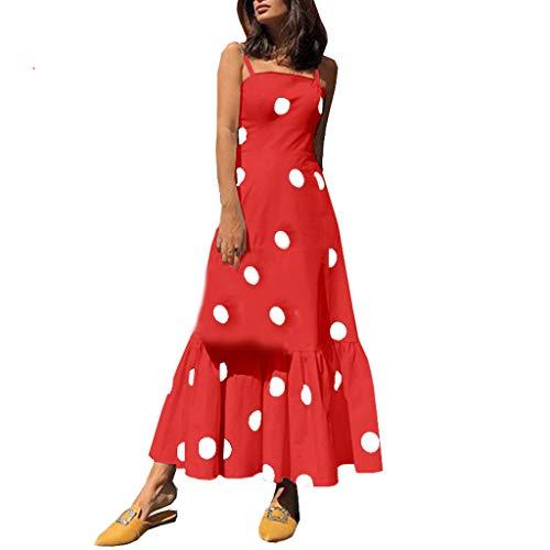 CUTUDE Damen Kleider Sommer Boho Riemchen Sexy Dot Printed Lange Maxi Party Strandkleider (Rot, Medium)