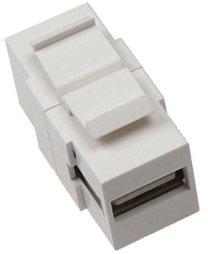 NTW USB A/B Snap-in Keystone Coupler JackWhite NKY-FF/U2AB-WHT