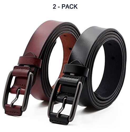 cb8cafd034200 ANDY GRADE Ensemble de 2 ceinture en cuir de vachette en cuir pour femme  Ceintures décontractées pour jeans pour pantalons courts Pantalons Pour les  ...