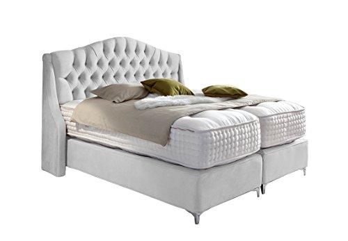 Haskins-Betten Boxspringbett, Leder, Altweiß, 180 x 180 x 130 cm
