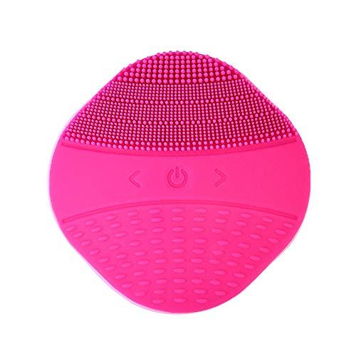 Nouveau Brosse de nettoyage pour le visage en silicone chauffant, nettoyant pour le visage, brosse de massage avec un instrument de lavage du visage avec ajustement de 15 modes, Rose rouge