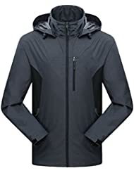 Zhhlinyuan cómodo Mens Outdoor Lightweight Waterproof Jacket Coat Zip Hoodie Sportswear Ropa de deporte Windbreaker