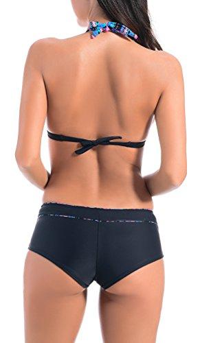 OLIPHEE Damen Boho Bikini Sets Neckholder Bademode Push Up Sommer Schwimmanzug mit Sport Shorts Schwarz