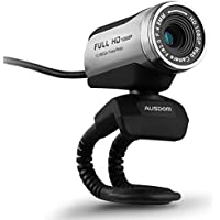 USB 1080P Webcam with HD Microphone, Ausdom AW615 Full HD 1080P / 30 FPS USB Interface Web Camera with Mic, Video Chat with High Definition Photo, Image Transcription and Voice Playing