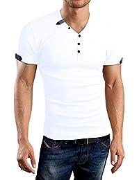 df38d664fd31ea AIYINO Herren T-Shirt mit V-Ausschnitt Kontrast 100% Baumwolle Casual  Cardigan
