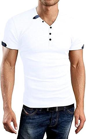 AIYINO Herren Casual Cardigan T-Shirt mit V-Ausschnitt (X-Large, Weiß)