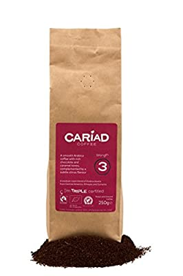 Ground Coffee 250g By Cariad Coffee  ORGANIC, FAIRTRADE, RFA 100% ARABICA & Truly Delightful  Our Medium Roast Coffee Blend of The Finest Arabica Coffee Ground from Central America, Ethiopia and Sumatra  Love our Delicious Coffee or It's Free!
