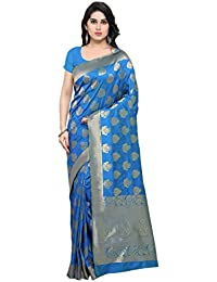 Varkala Silk Sarees Women's Banarasi Silk Saree With Blouse Piece(TD1123RB_Blue_Free Size)