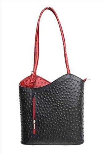 DW-Accessoires - elegante Leder Handtasche - Schultertasche - Rucksack - 2in1 Handtasche - Straußenleder-Design - schwarz / dunkelrot - Made in Italy (Schwarz, Straußenleder)