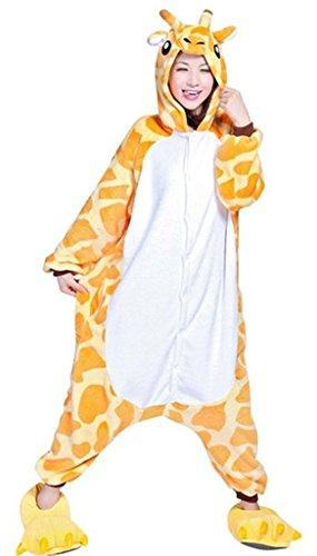 Outdoor Top Winter warm Flanell Einteiler Schlafanzüge Erwachsene Unisex ein Teil Pikachu Pyjama Giraffe