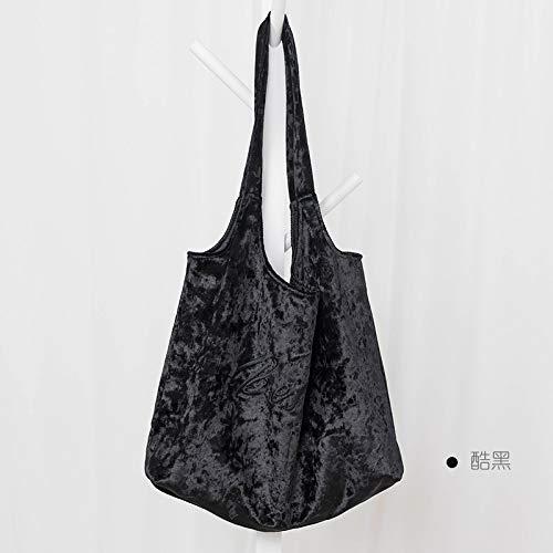 GZXYYY City Einkaufstasche Leinwand Einkaufstasche Frau Falten Vlies Tasche tragbare grüne Tasche Schulter große Kapazität horizontale große cool schwar K