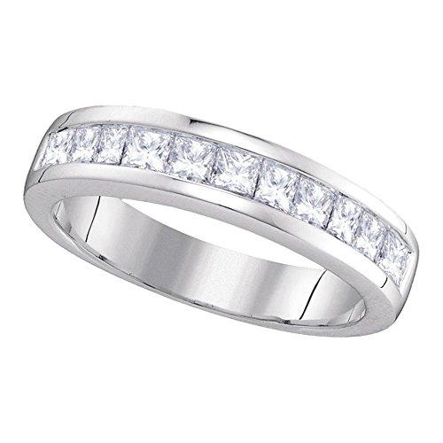 Diamond2Deal Herren Damen Unisex Kinder - 14 Kt 14 Karat (585) Weißgold Prinzessschliff Leicht Getöntes Weiß/Top Crystal (I) Diamant