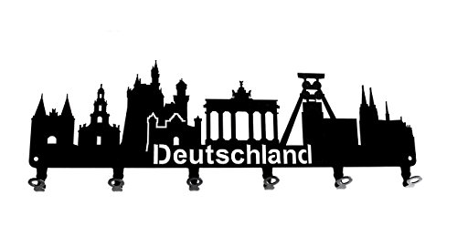 steelprint.de Wandgarderobe - Skyline Deutschland - Flurgarderobe - Germany - Kleiderhaken, Hakenleiste, Garderobeneiste, Garderobenhalter, Garderobe - Metall, Schwarz