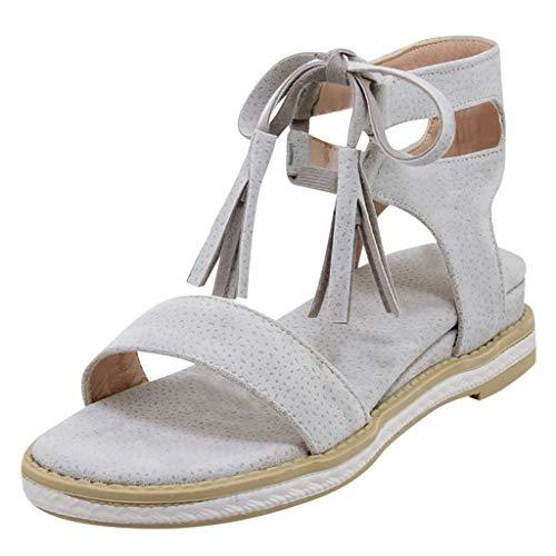 CUTUDE Damen Sandals Sandalen Sommer Bohemian Flats Open Toe Low Heel Quaste Schuhe Schnür Römersandalen (Grau, 41 EU)