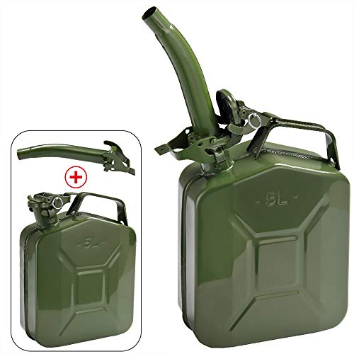 Jerrican en métal 5L Bidon avec bec verseur 24x12x35 cm Liquide carburants