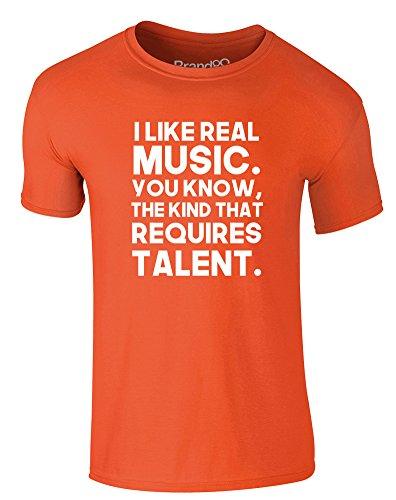 Brand88 - I Like Real Music, Erwachsene Gedrucktes T-Shirt Orange/Weiß