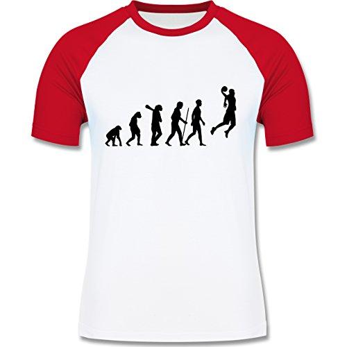 Evolution - Basketball Evolution - zweifarbiges Baseballshirt für Männer Weiß/Rot