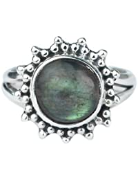 Natural Labradorite Gemstone 925 Sterling Silver Jewelry Ring Size US 5.5 US 3.7