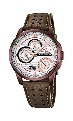 Lotus Marc Marquez Collection 2015 Men's Quartz Watch with White Dial Analogue Display and Brown Leather Strap 18243/1